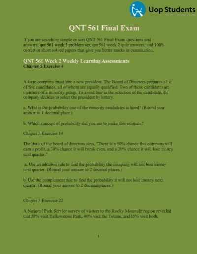 QNT 561 Final Exam QNT 561 Week 1 Practice Quiz 45
