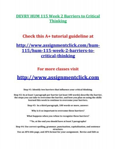 barriers of critical thinking
