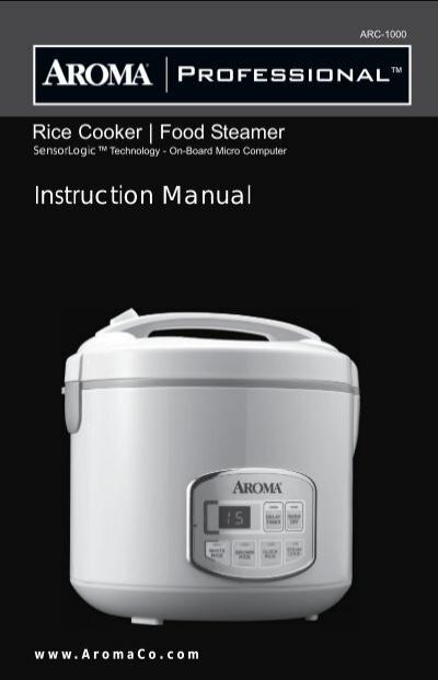 aroma professional series 10 cup sensor logic trade rice cookerarc rh yumpu com aroma rice cooker manual arc 1000 Aroma Professional Rice Cooker