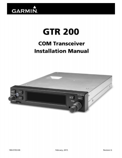 garmin gtr 200 gtr 200 installation manual rh yumpu com Garmin Forerunner 225 Garmin 225 Colors