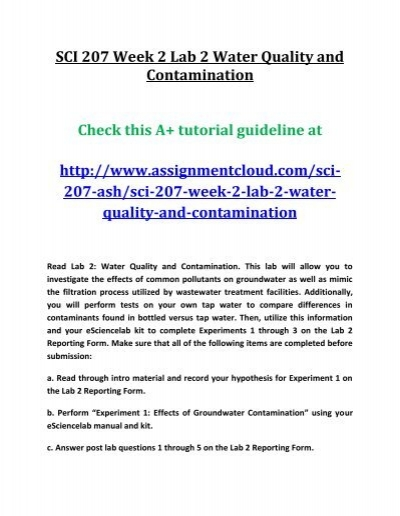 water quality and contamination lab