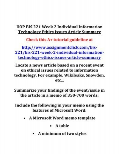 Uop Bis  Week  Individual Information Technology Ethics Issues