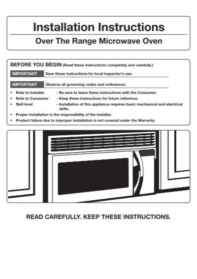 Over The Range Convection Microwave Mc17j8000cs Aa Installation Guide Ver 1 0 English 3 59 Mb