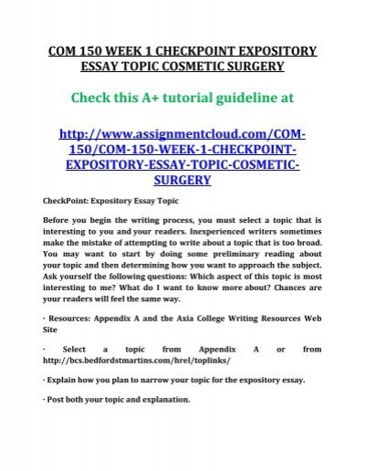 How To Start A Business Essay Jpg Reflective Essay On English Class also Persuasive Essay Samples High School Com  Week  Checkpoint Expository Essay Topic Cosmetic Surgery Personal Essay Examples High School