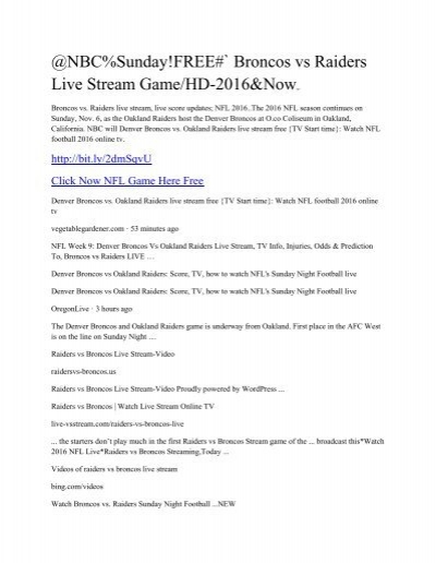 broncos raiders game live streaming free