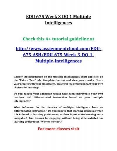 Edu 675 Week 3 Dq 1 Multiple Intelligences