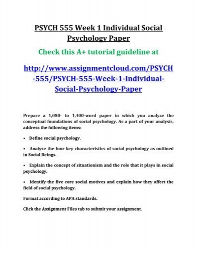 define social psychology paper