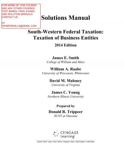 solution manual for south western federal taxation 2014 taxation of rh yumpu com  Federal Taxation 2014