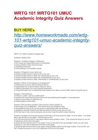 wrtg 101 wrtg101 umuc academic integrity quiz answers. Black Bedroom Furniture Sets. Home Design Ideas