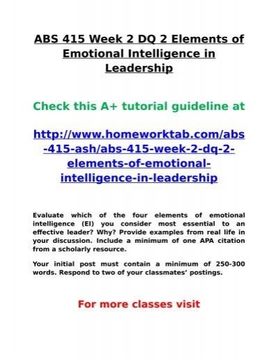 Ash Abs 415 Week 2 Dq 2 Elements Of Emotional Intelligence In Leadership