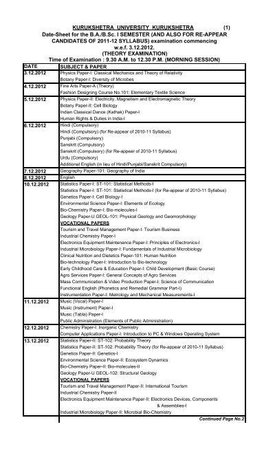 Date Sheets Of Ug Kurukshetra University