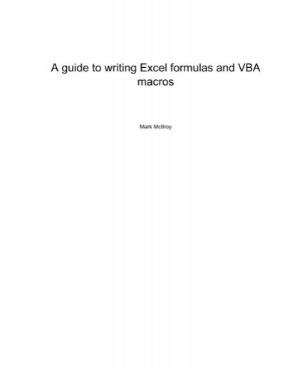 a guide to writing excel formulas and vba macros