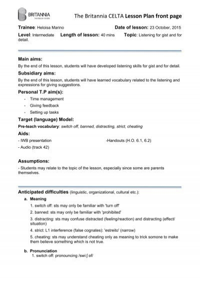 Celta Grammar Lesson Plan Sample