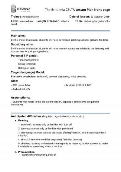 Celta Grammar Lesson Plan Sample