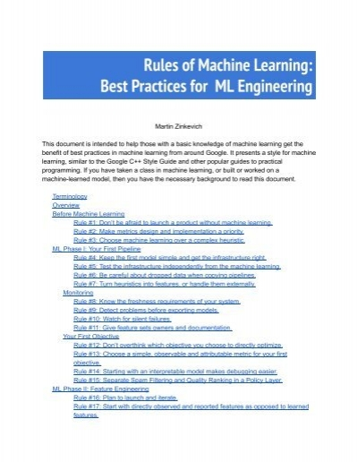 Engineering Documentation Best Practices : Rules of machine learning best practices for ml engineering