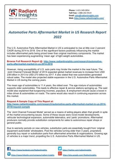 Automotive Parts Aftermarket Market in US Is Expected Around USD 273