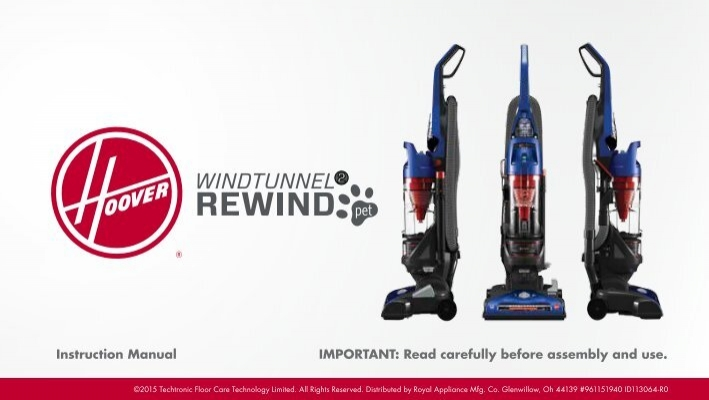 Hoover Windtunnel 174 2 Rewind Pet Uh71215 Manual