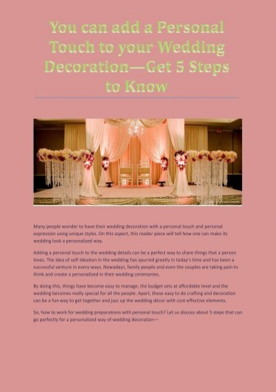 5 Tips To Give Personal Touch To Your Wedding Decoration