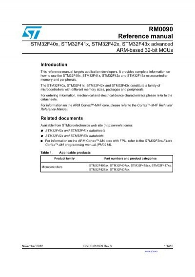 RM0090: Reference manual - STMicroelectronics