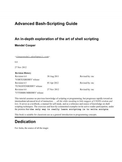 advanced bash scripting guide the linux documentation project