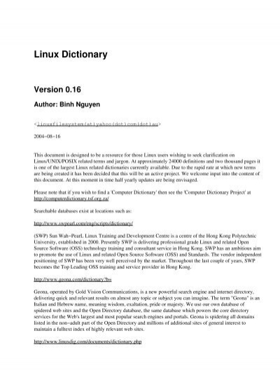 Chapter 1  Linux Dictionary - The Linux Documentation Project