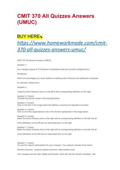 CMIT 370 All Quizzes Answers (UMUC)