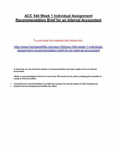 ACC 544 Week 1 Individual Assignment Recommendation Brief