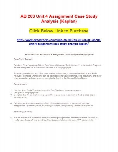 ab 203 unit 4 assignment case study analysis kaplan