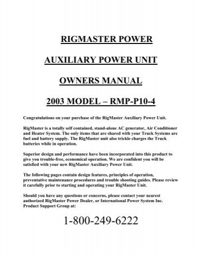 trouble shooting guide rigmaster powerRigmaster Apu Wiring Diagram Ac Generator #8