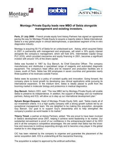 Montagu Private Equity leads new MBO of Sebia     - Astorg Partners