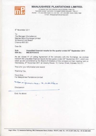 Sept 2011 Manjushree Plantations Ltd