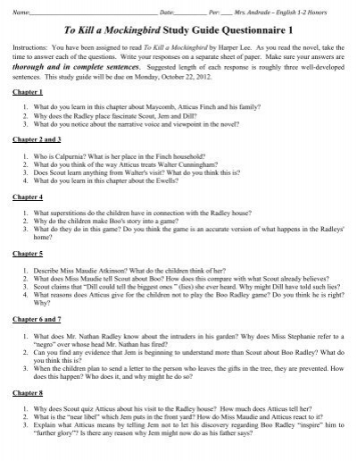 To Kill a Mockingbird Study Guide Questionnaire 1