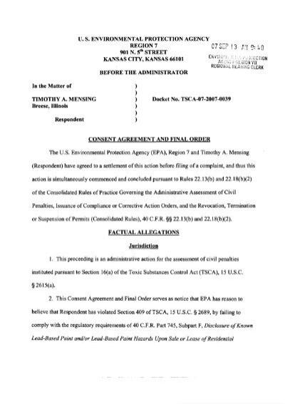 Consent Agreement Timothy Mensing Berkeley Missouri September
