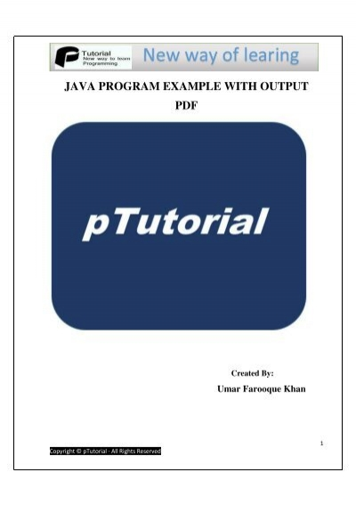 Java Programming Examples With Output Pdf