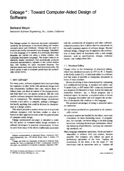 Cepage Toward Computer Aided Design Of Software