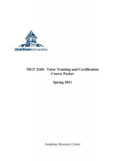 MGT 2160: Tutor Training and Certification Course Packet Spring ...
