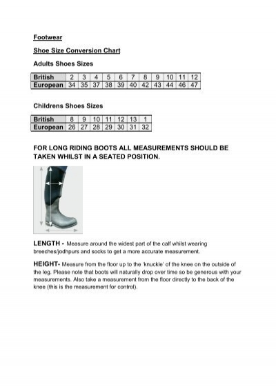 Sizing Guide for Footwear - GeeGees Equine