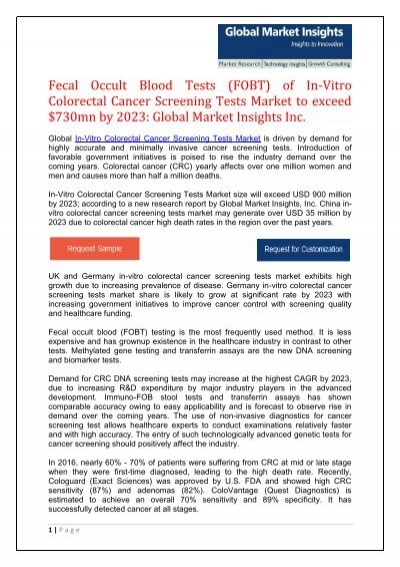 China In-Vitro Colorectal Cancer Screening Tests Market to hit $35mn