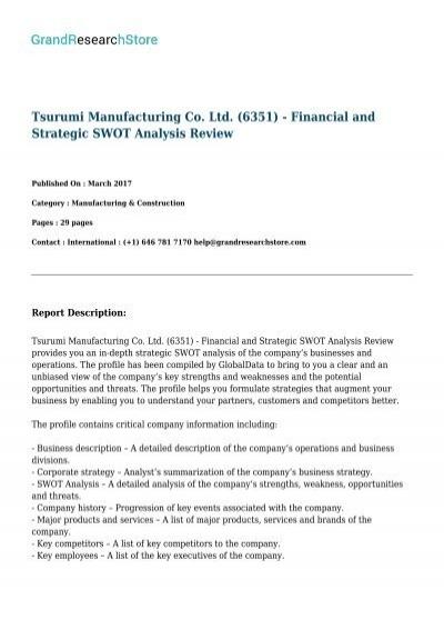 tsurumi-manufacturing-co-ltd-6351---financial-and-strategic
