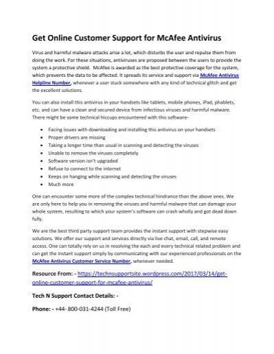 McAfee Antivirus Customer Service Helpline Number