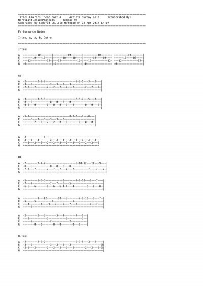 Ukulele Tabs Claras Theme Part A By Murray Gold