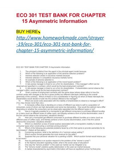 ECO 301 TEST BANK FOR CHAPTER 15 Asymmetric