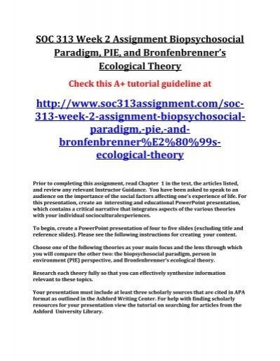 SOC 313 Week 2 Assignment Biopsychosocial Paradigm