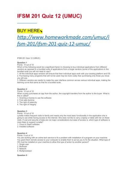 IFSM 201 Quiz 12 (UMUC)