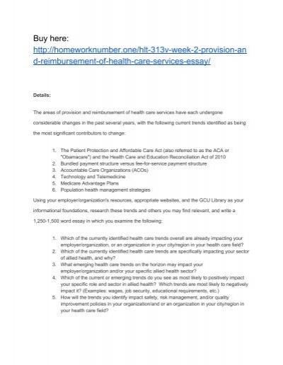 hlt v week  provision and reimbursement of health care