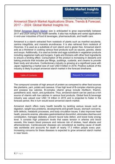 Arrowroot Starch Market Applications