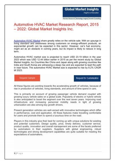 Global Market review of Automotive HVAC - Forecasts to 2023