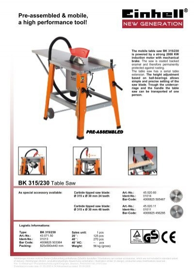 BK 315/230 Table Saw Pre-assembled & mobile, a high ...