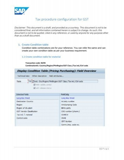SAP GST Configuration Guide India [PDF] - Tax Procedure and
