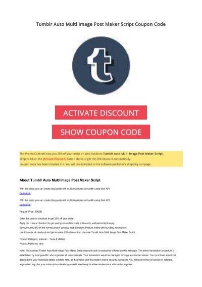 25% OFF Tumblr Auto Multi Image Post Maker Script Coupon Code 2017